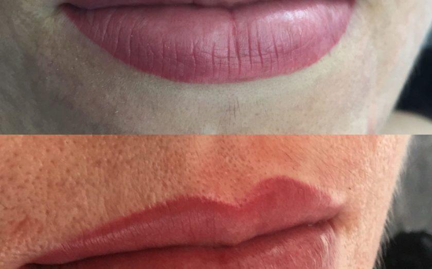 фото до и после татуажа губ